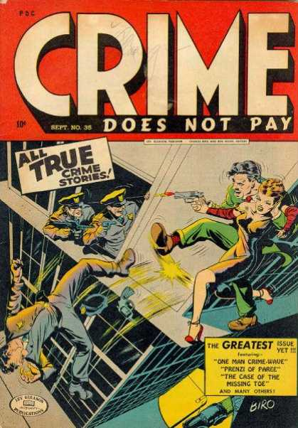 Crime Does Not Pay 35 - True - Stories - Gunfire - Man Falling - Policemen