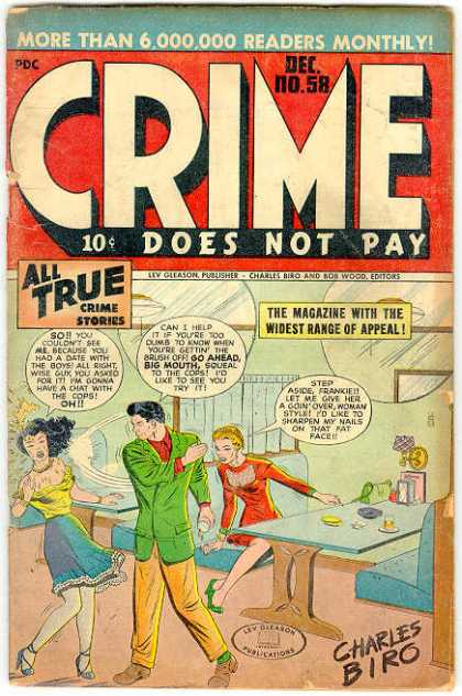 Crime Does Not Pay 58 - Slap - Diner - True - Charles Biro - Red Dress