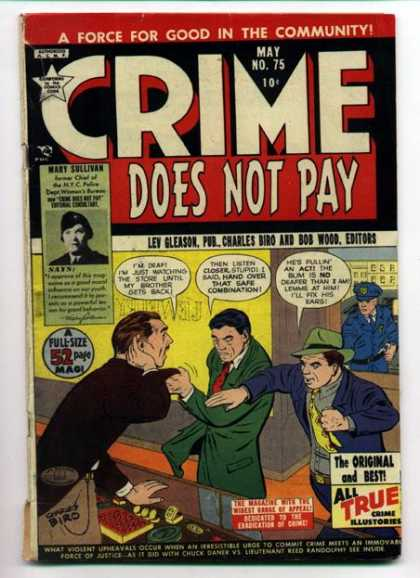 Crime Does Not Pay 75 - A Force For Good In The Community - May - Lev Gleason - Pub Charles - Biro And Bob Wood