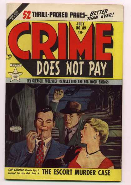 Crime Does Not Pay 89 - Bob Wood - Man Smoking A Pipe - Chip Gardner - Lev Gleason - The Escort Murder Case