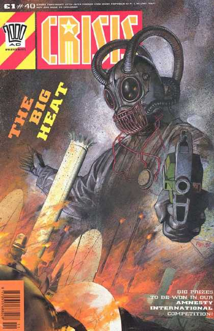 Crisis 40 - 2000 Ad Comic - Crisis - The Big Heat - Amnesty International Competition - Gun-wielding Robot