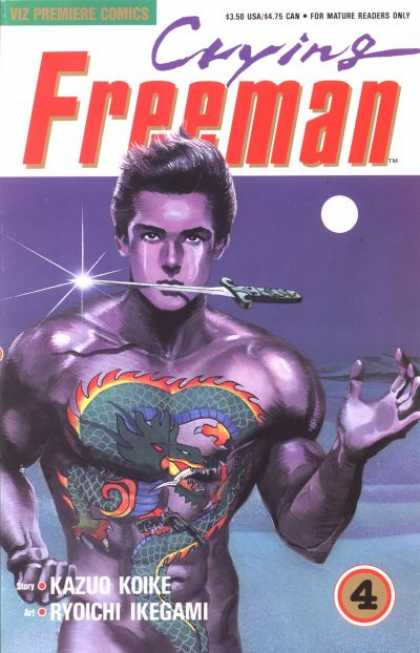 Crying Freeman 4 - Crying - Purple Man - Knife In Mouth - Full Moon - Dragon Tattoo On Chest - Ryoichi Ikegami
