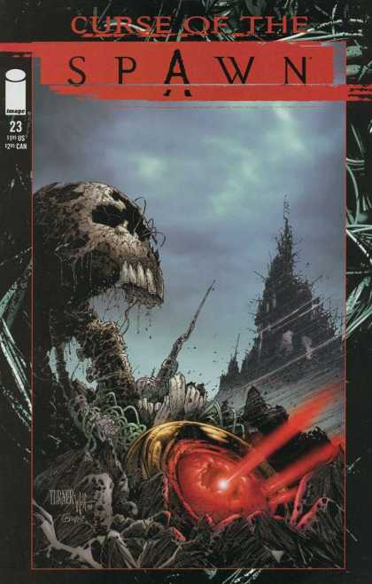 Curse of the Spawn 23 - Dark Sky - Skull - Red Beams - Rocks - Vines