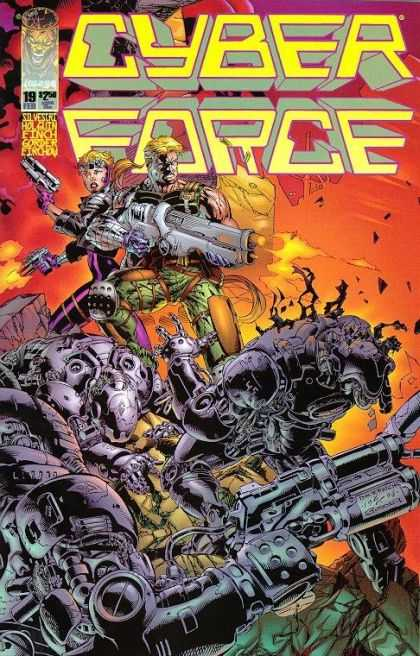 Cyberforce 19 - Cyber Force - Cyber Creatures - Man And Woman Fighting - Half Human - Fire - David Finch