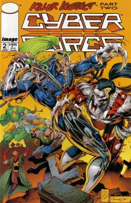 Cyberforce 2 - Killer Instict Part Two - Green Hair - Fight Between Two Powerful Men - Claws - Man With Pistols - Marc Silvestri, Pat Lee