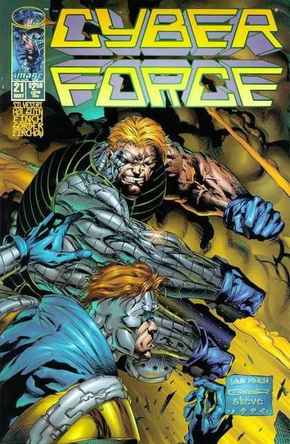 Cyberforce 21 - Image - Superhero - Cyborg - Fight - Lame - David Finch