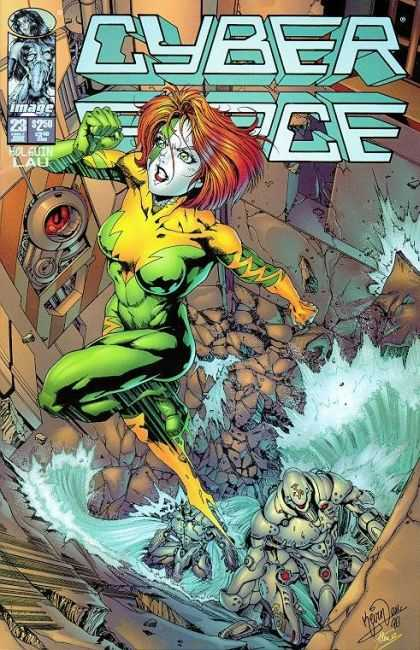 Cyberforce 23 - Water - Yellow - Green - Running - Rocks