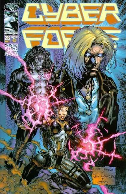 Cyberforce 26 - Glowing Eyes - Cross - Magic - Female Warrior - Mist - David Finch