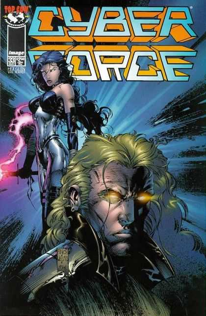 Cyberforce 33 - Glowing Eyes - Buxom Heroine - Image - Brooding Hero - Shiny Clothes - David Finch