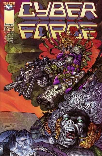 Cyberforce 35 - Big Gun - Purple Outfit - Parachute Thing - Screaming Man - Boot Tread - Richard Isanove