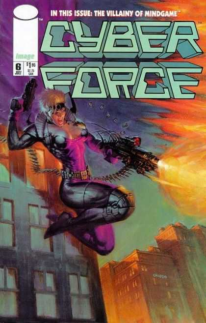 Cyberforce 6 - Gun - Mindgame - Buildings - Flame - Windows - Pat Lee