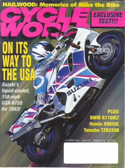 Cycle World - September 1992