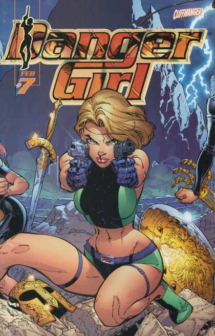 Danger Girl 7 - Hand Guns - Cliffhanger - Gold Mask - Sword - Shield