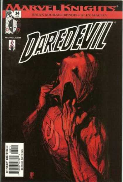 Daredevil (1998) 34 - Holding Mask - Red Costume - Distress - Confusion - Uncertainty - Alex Maleev
