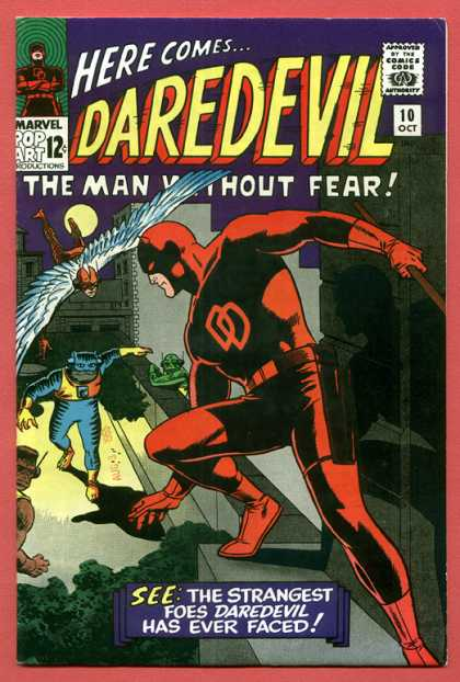 Daredevil 10 - Here Comes - 10 Oct - Marvel Pop Art 12c - Dd - See The Strangest Foes Daredeval Has Ever Faced