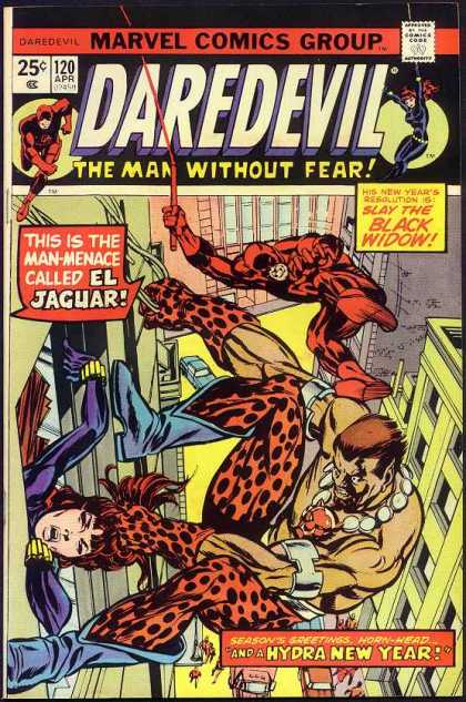 Daredevil 120 - Marvel Comics Group - Jaguar - The Man Without Fear - Superhero - Hydra New Year