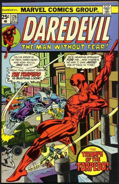 Daredevil 126 - Cartoon - Car - Red - Building - Man