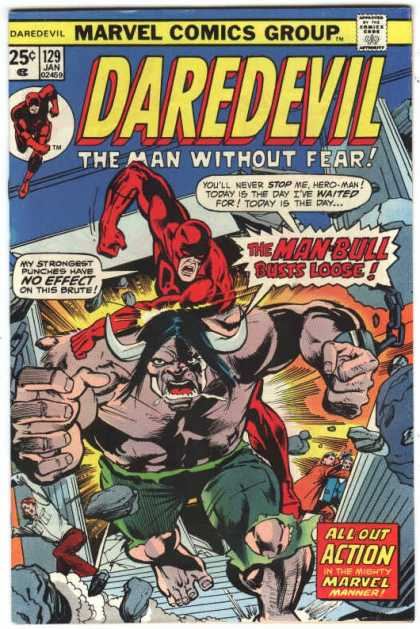 Daredevil 129 - Horns - Man-bull - Chain - All-out Action - Stairs - Richard Buckler