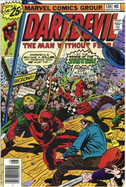 Daredevil 136 - Jester - Killer - Broadway - New York City - Murderer - John Buscema