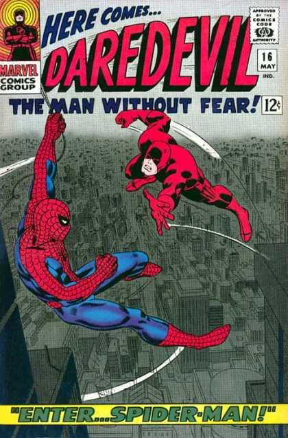 Daredevil 16 - The Man Without Fear - Red Suits - Fighting In Mid-air - Nemesis Spiderman - Teritorrial