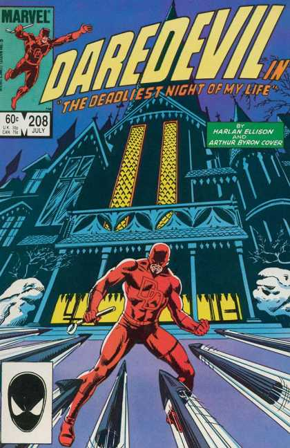 Daredevil 208 - Castle - Red Custom - Arrows - Harlan Ellison - Athur Byron Cover