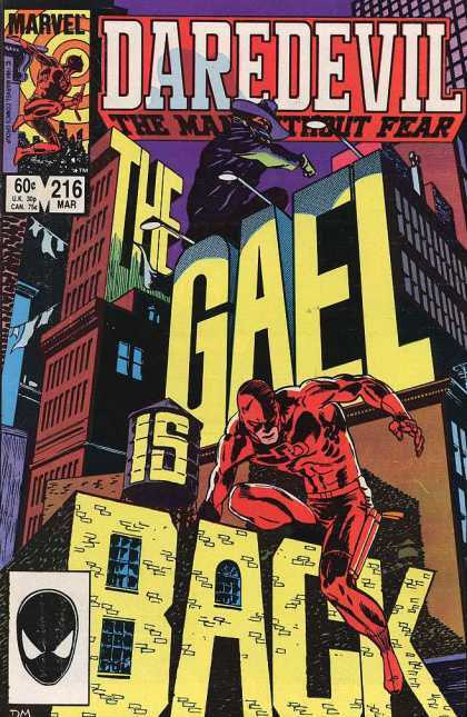 Daredevil 216 - Gaels Revenge - The Shadow Man - Return Of Old Enemies - Daredevils Biggest Fear - Fall Of Man In The Red