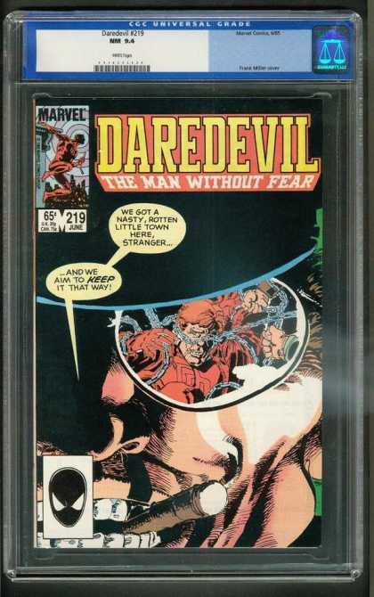 Daredevil 219 - Chain Smoker - Small Town Blues - Daring Town Clean-up - Devil Delves Deep - Unseeing Devil Smells Debauchery - Frank Miller