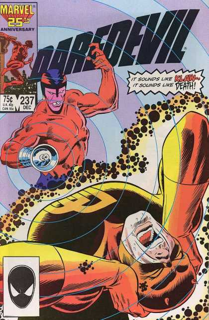 Daredevil 237 - Marvel - 25th Anniversary - Number 237 - December - It Sounds Like Klaw - It Sounds Like Death - Klaus Janson