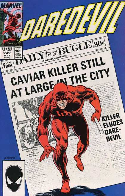 Daredevil 242 - Caviar Killer - Daily Bugle - Eludes - At Large - Newspaper