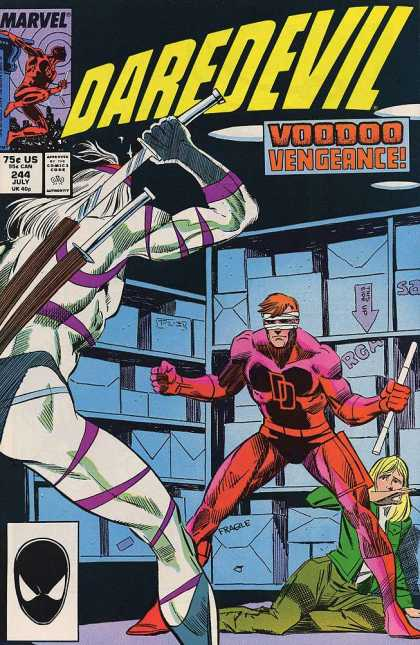Daredevil 244 - Villian - Sword - Woman - Boxes - Voodoo Vengeance