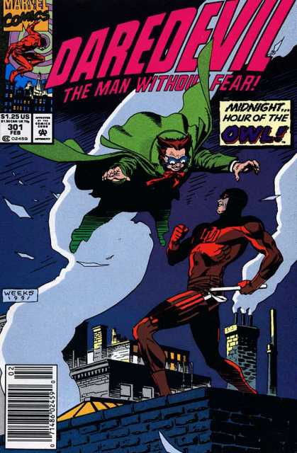 Daredevil 301 - Hour Of The Owl - Green Cape - Marvel Comics - Rooftops - Smoke Stacks