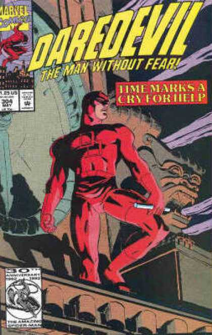 Daredevil 304 - The Man Without Fear - Marvel Comics - Approved By The Comics Code Authority - 304 May - Time Marks A Cry For Help - Ron Garney