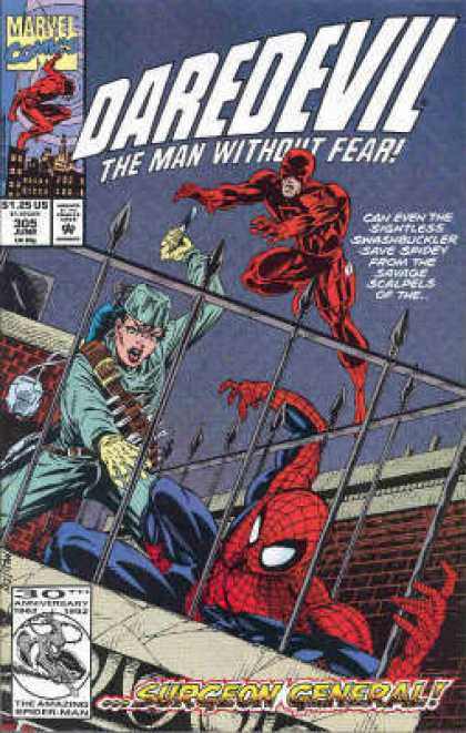 Daredevil 305 - Spiderman - Surgeon General - Fence - Rooftop - Knives