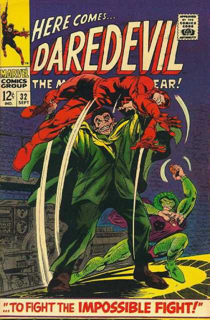 Daredevil 32 - Marvel Comics Group - 32 Sept - Approved By The Comics Code Authority - Here Comes - To Fight The Impossible Fight - Gene Colan