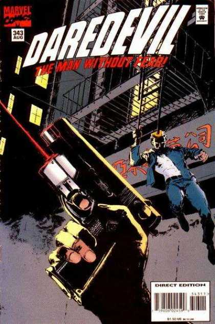Daredevil 343 - Gun - Laser Aim - Night - Stairs - City