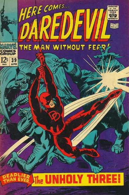 Daredevil 39 - Daredevil - Fearless Man - Deadly - Unholy Three - Red Suit - Gene Colan