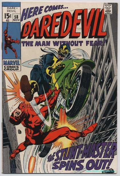 Daredevil 58 - 59 Nov - The Man Without Fear - The Stuntmaster Spins Out - Marvel Comics Group - Motorcycle - Gene Colan