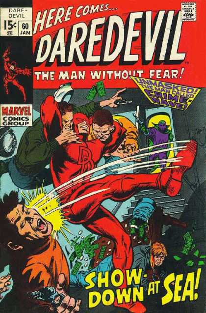 Daredevil 60 - Red Suit - Kick - Double Headlock - Marvel - Purple Suit - Gene Colan