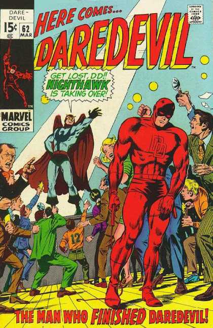 Daredevil 62 - The Man Who Finished Daredevil - Nighthawk - Here Comes - Press - Crowd - Gene Colan