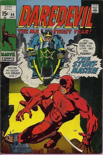 Daredevil 64 - The Man Without Fear - The Stunt Master - Green Motocycle - Devils Horns - Red Costume - Gene Colan