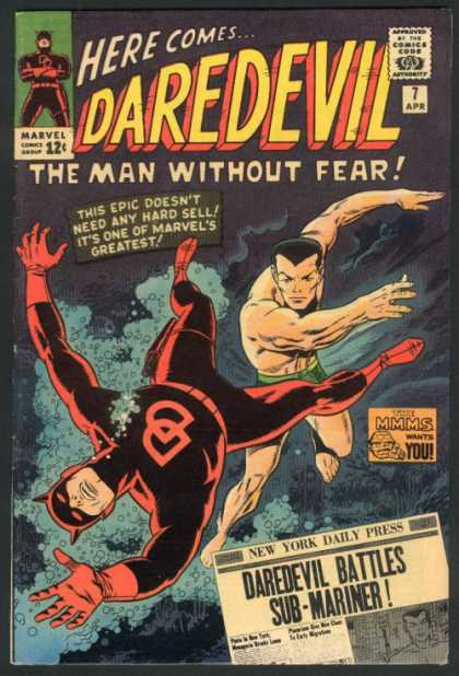 Daredevil 7 - Approved By The Comics Code Authority - Marvel Comics Group - The Man Without Fear - 7 Apr - Daredevil Battles Sub-mariner