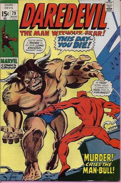 Daredevil 79 - Man Bull - Marvel Comics Group - Horns - Masked Man - Man Without Fear - Sal Buscema