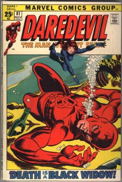 Daredevil 81 - The Man Without Fear - Marvel Comics Group - Death Is A Black Widow - Underwater Man In Crimson - She Is A Black Widow - Bill Everett