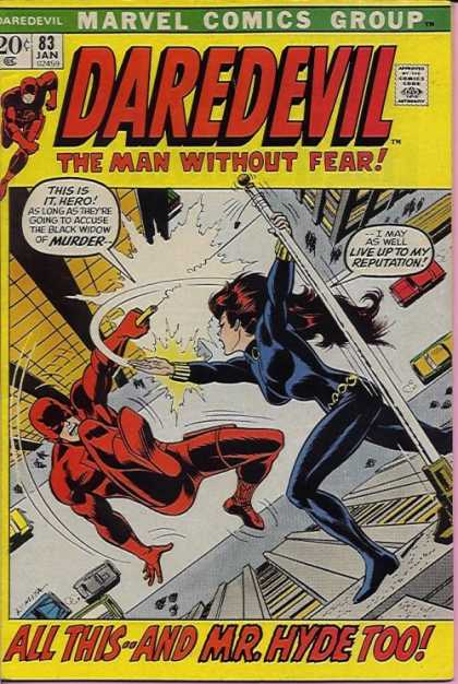 Daredevil 83 - Girl - Fall - Flag - Pole - City