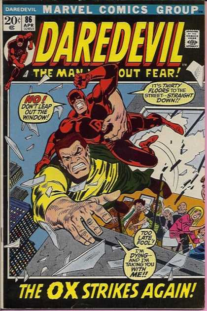 Daredevil 86 - Marvel Comic Group - Window - Tiry Floors - Straight Down - The Ox Strikes Again - Sal Buscema