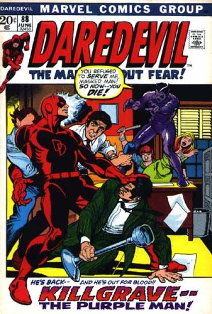Daredevil 88 - Hes Back And Hes Out For Blood - The Man Without Fear - Kilgrave The Purple Man - Office Desk - Green Suit