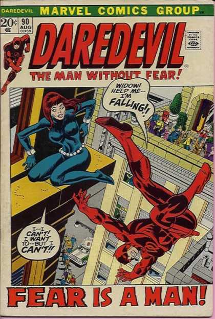 Daredevil 90 - Falling - Widow - Building - Ledge - People