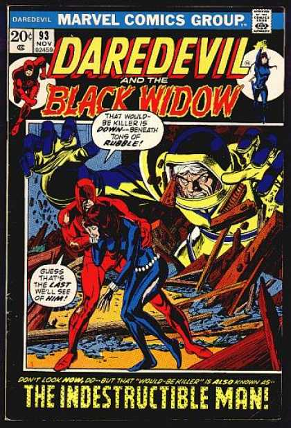 Daredevil 93 - Black Widow - Indestructible Man - Destroyed Building - Giant - Blue Outfit - Gene Colan