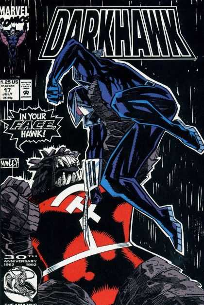 Darkhawk 17 - Marvel Comics - In Your Facehawk - Fighting - 30th Anniversary - Superheroe - Mike Manley