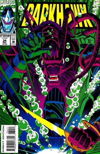 Darkhawk 34 - Colorful - Golden Knife - Purple Monster - Multiple Hands - Scary Fangs